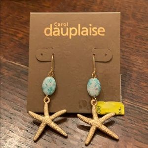 Carol Dauplaise Gold Starfish Turquoise Earrings⭐️